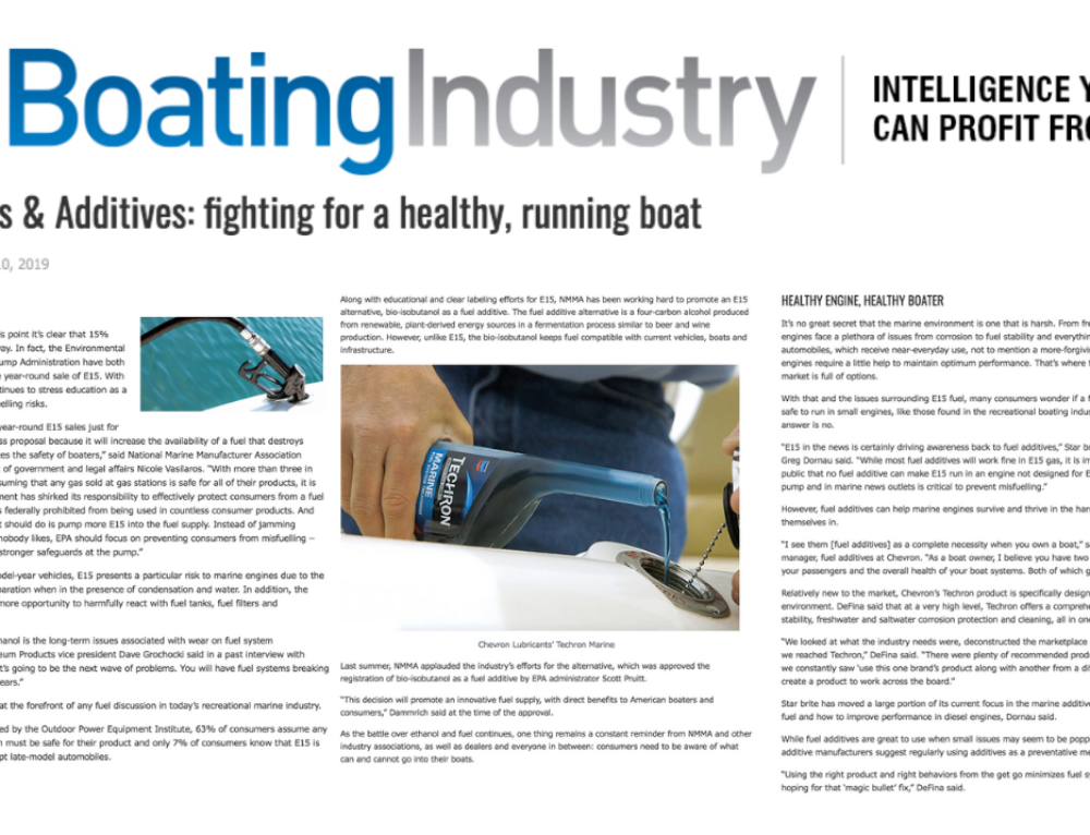 "Public Haus Secures Top Billing for Techron Marine in ""Boating Industry"" Article on Marine Fuel Additives"