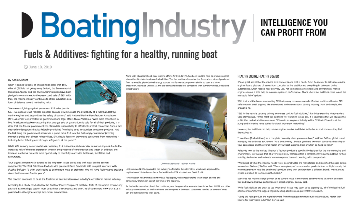 "marine industry public relations, Public Haus Secures Top Billing for Techron Marine in ""Boating Industry"" Article on Marine Fuel Additives"